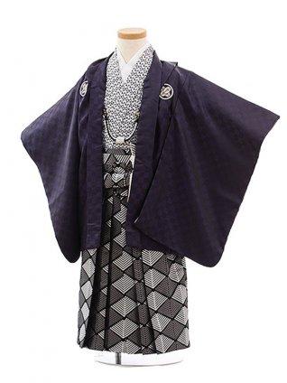 七五三(7歳男袴)0829 花わらべ パープル市松×黒シルバー袴