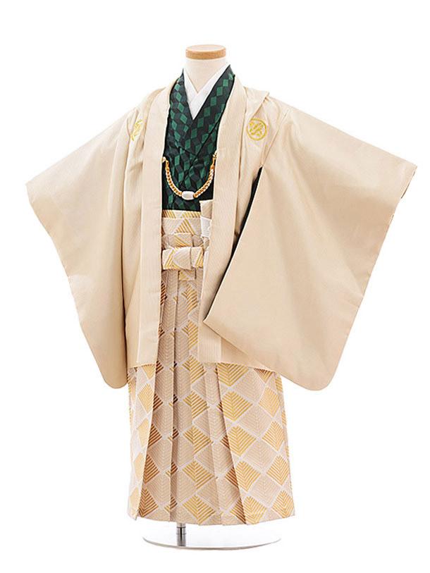 七五三(7歳男袴)0830 花わらべ  ベージュ×白ゴールド袴