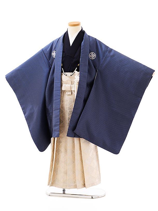 七五三レンタル(7歳男袴)0831花わらべ 紺地小紋xアイボリーシルバー袴