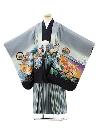 七五三レンタル(7歳男袴)0834グレー裾黒波にかぶとxグリーンストライプ袴