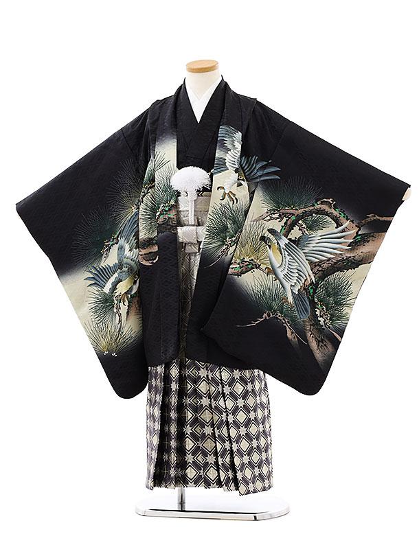 七五三レンタル(7歳男袴)0837黒地松に鷹xグレーゴールド袴