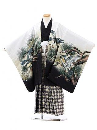七五三レンタル(7歳男袴)0838白地裾黒松に鷹xグレーゴールド袴