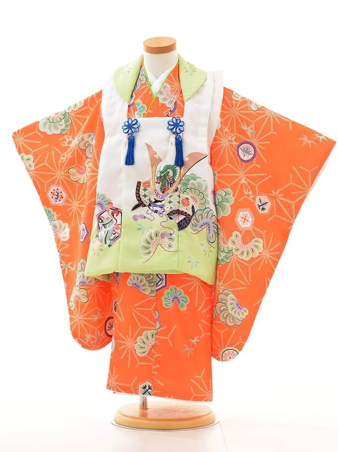 ▶七五三(3歳男被布)2101 花わらべ 黄緑×オレンジかぶと