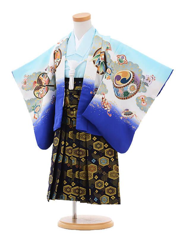 七五三(2歳男袴)2102 水色ブルーぼかし鷹×紺ゴールド