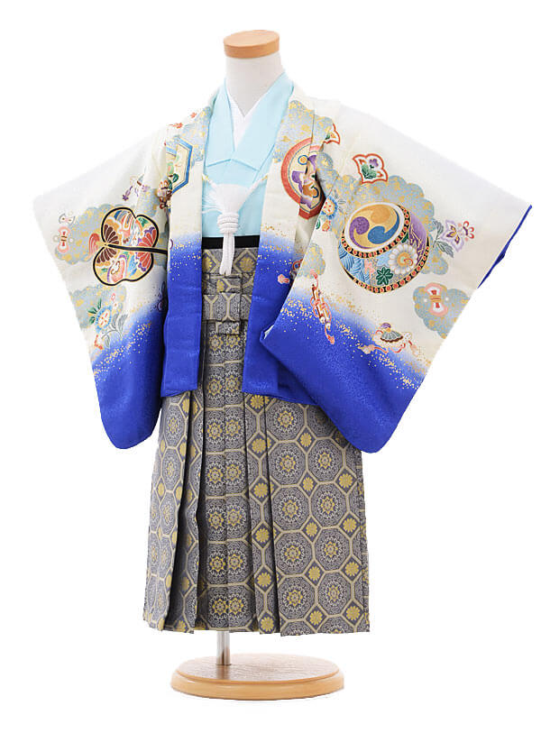 七五三レンタル(2歳男袴)2104白ブルーぼかしかぶと×