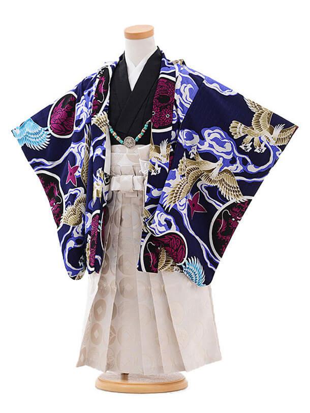 七五三(3歳男袴)2112 内田篤人×JAPAN STYLE 鷹に丸紋 紺