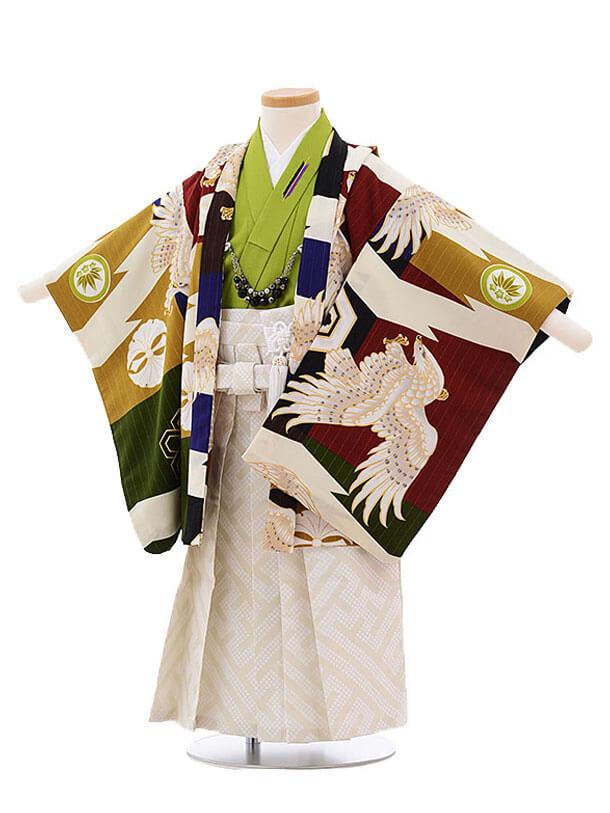 ▶753レンタル(3歳男袴)2129 ジャパンスタイル多色鷹 グリーン