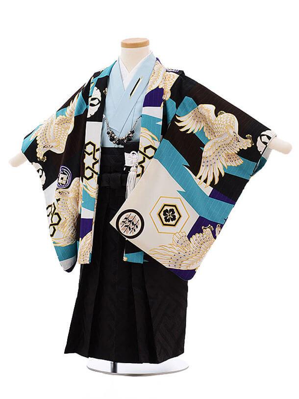 ▶753レンタル(3歳男袴)2130 ジャパンスタイル多色鷹ブルー