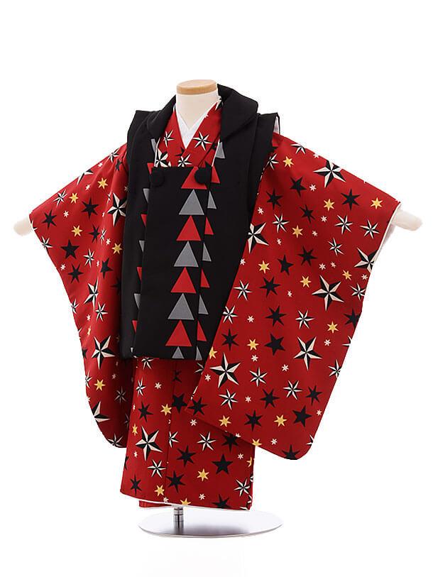 七五三レンタル(3男被布)2138 黒×赤地 星