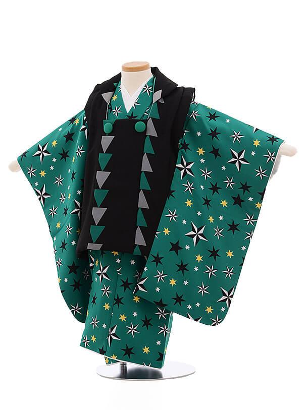 七五三レンタル(3男被布)2139 黒×グリーン地 星