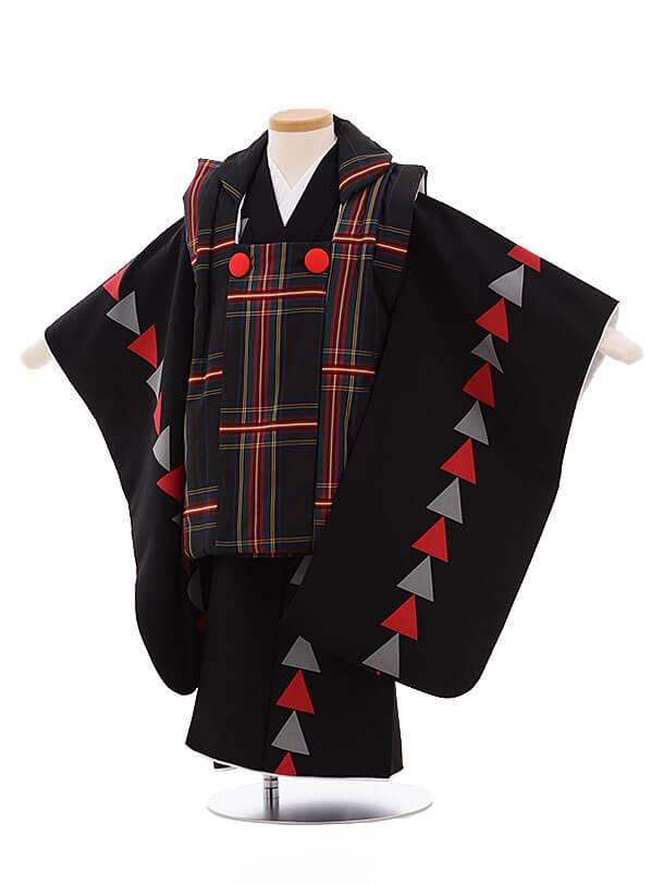 七五三レンタル(3男被布)2157 黒チェック×黒赤