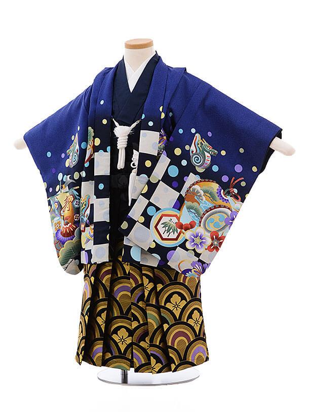 七五三レンタル(3歳男袴)2162 ブルー地 市松に兜