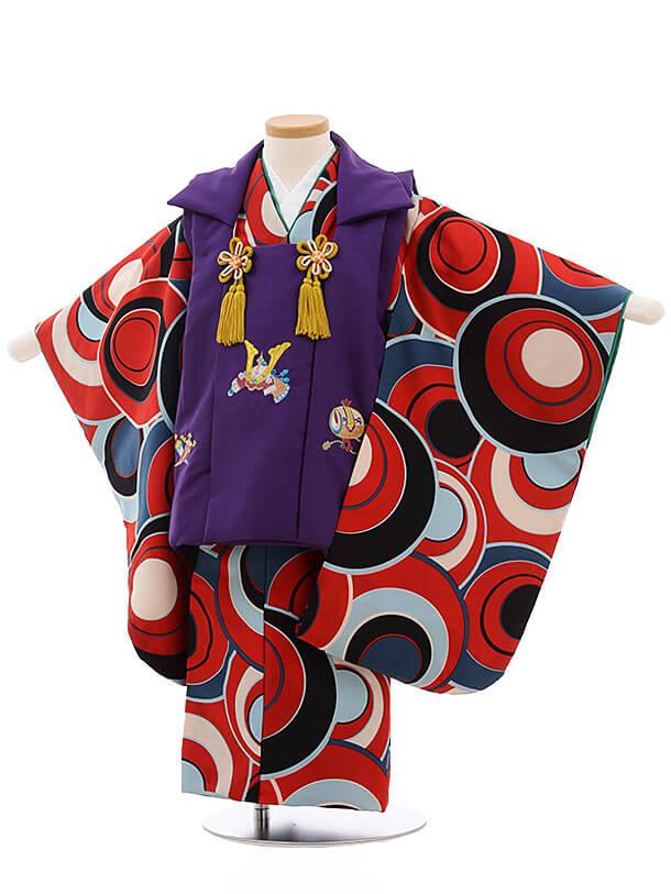 七五三レンタル(3男被布)2180 紫×赤地 丸柄
