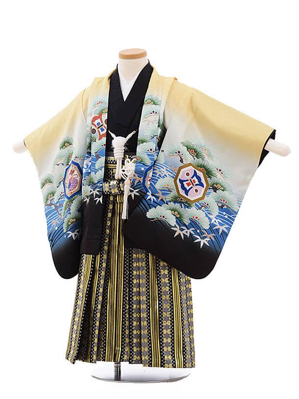 七五三レンタル(3男袴)2181 うす黄色 波に松鷹