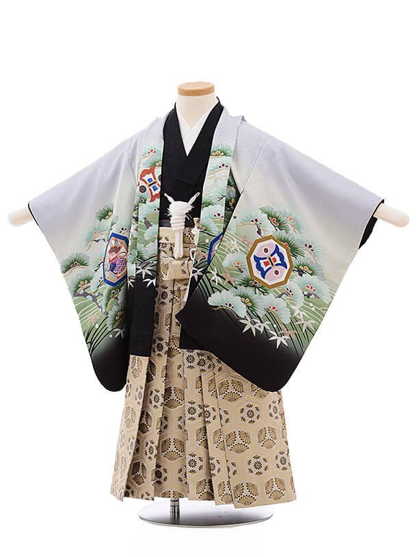 七五三レンタル(3男袴)2183 うすグレー 波に松鷹