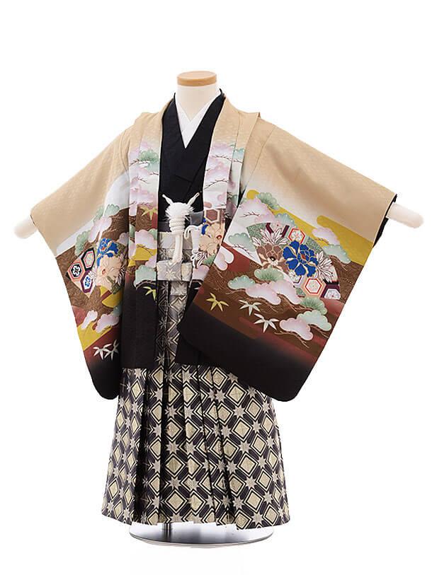 七五三レンタル(3男袴)2184 ベージュ 扇 兜