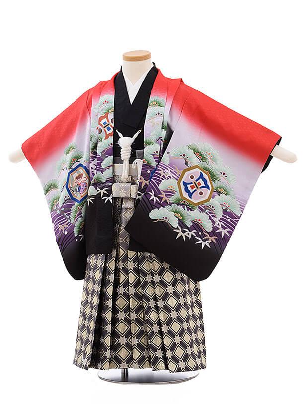 七五三レンタル(3男袴)2185 赤地 波に松鷹