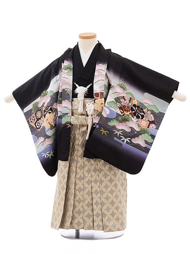 七五三レンタル(3男袴)2186 黒地 扇 兜