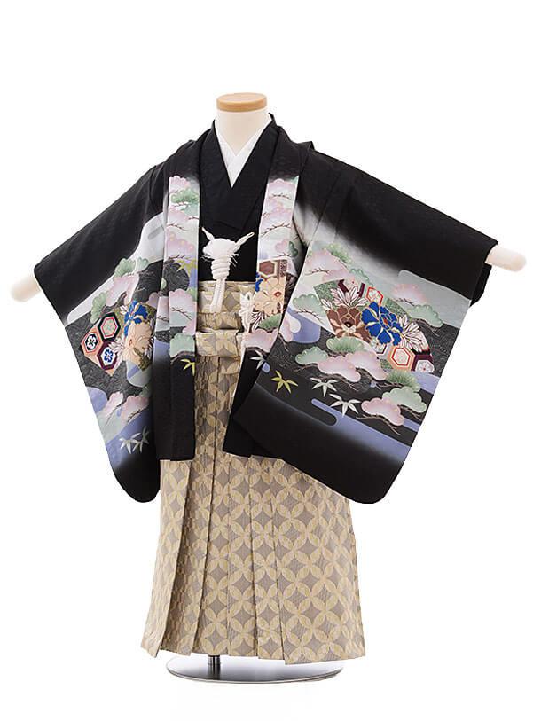 七五三レンタル(3男袴)2187 黒地 扇 兜
