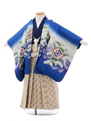 かんたん七五三レンタル(3男袴)2188 ブルー地 波に松鷹