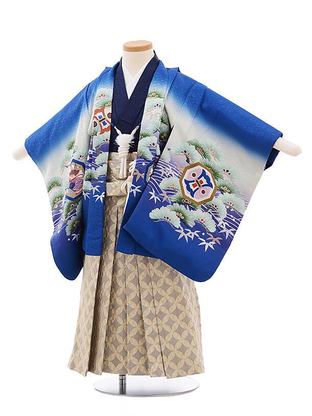 七五三レンタル(3男袴)2188 ブルー地 波に松鷹