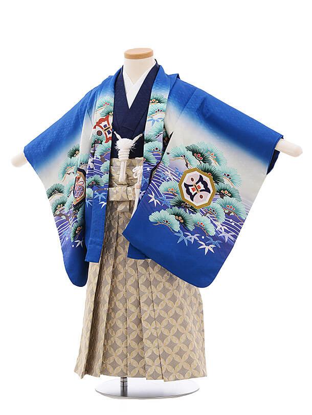 七五三レンタル(3男袴)2189 ブルー地 波に松鷹