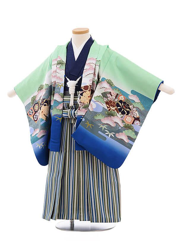 七五三レンタル(3男袴)2190 グリーン地 扇 兜