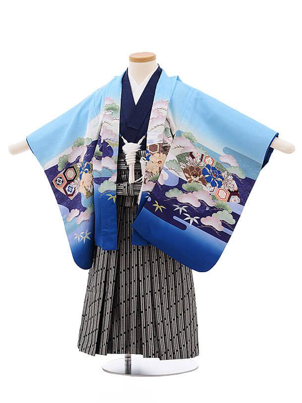 七五三レンタル(3男袴)2191 水色地 扇 兜