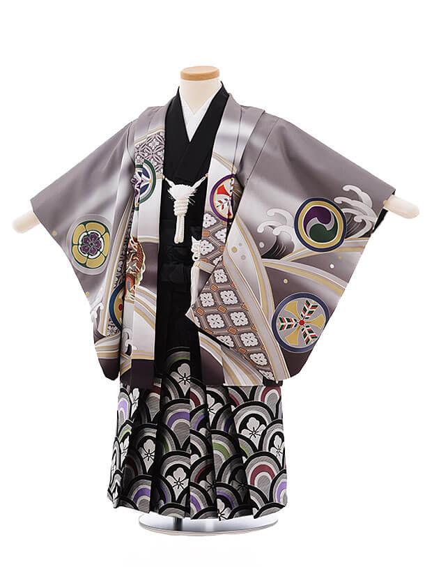 七五三レンタル(3男袴)2192 式部浪漫 グレー 丸紋に鷹