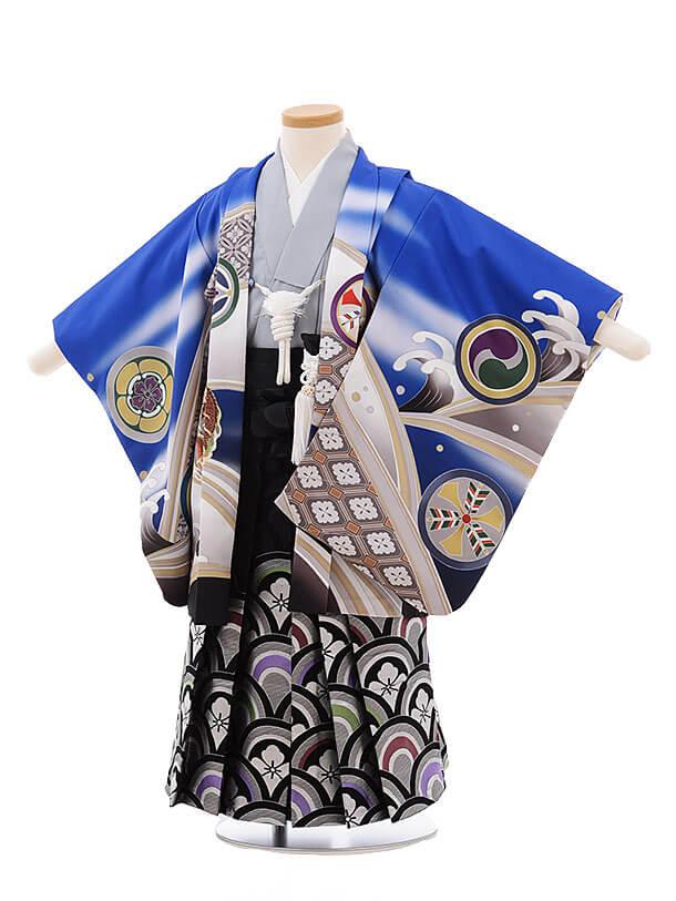 七五三レンタル(3男袴)2193 式部浪漫 ブルー 丸紋に鷹
