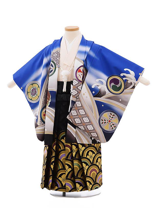 七五三レンタル(3男袴)2194 式部浪漫 ブルー 丸紋に鷹