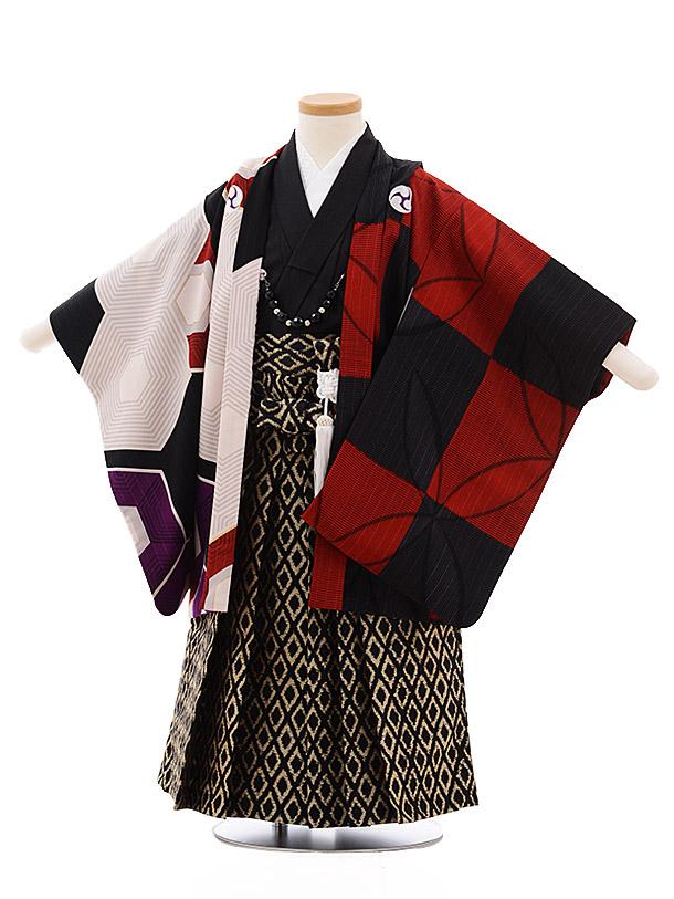 七五三(3歳男袴)2195 蒼 赤市松 ベージュ 亀甲 アシンメトリー