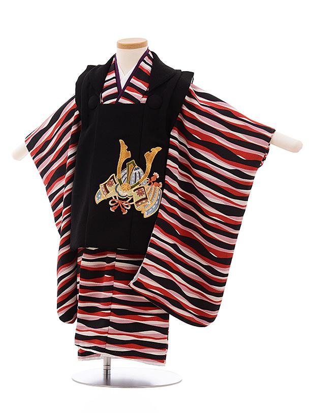 七五三レンタル(3歳男被布)2203 黒×黒 赤 ボーダー