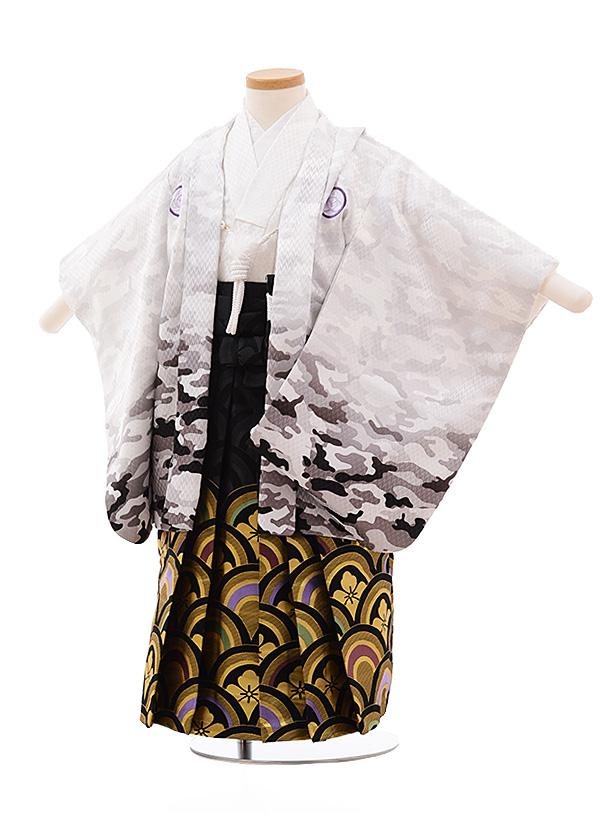 七五三レンタル(3歳男袴)2213 白カモフラージュ×黒ゴールド袴