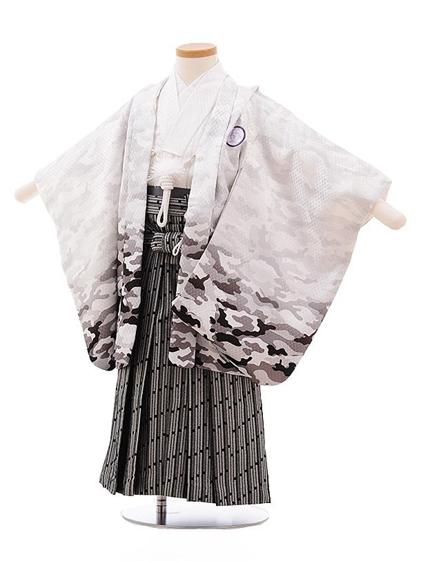 七五三レンタル(3歳男袴)2214 白カモフラージュ×黒シルバー袴