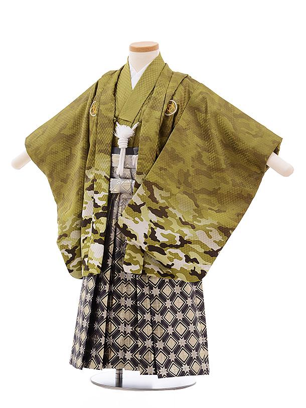 七五三(3歳男袴)2215 グリーンカモフラージュ×シルバーぼかし袴
