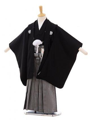 かんたん七五三(3歳男袴)2216 黒紋付×黒縦