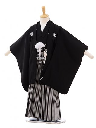 七五三(4歳男袴)2217黒紋付×黒縦縞