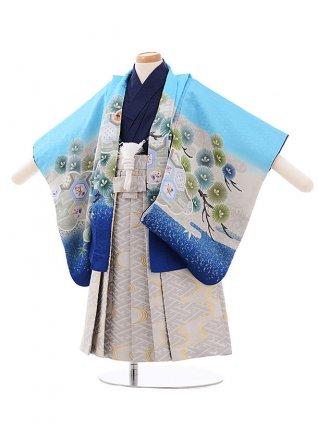 七五三(小さめ2歳男袴)2232 水色 裾ブルー かぶと