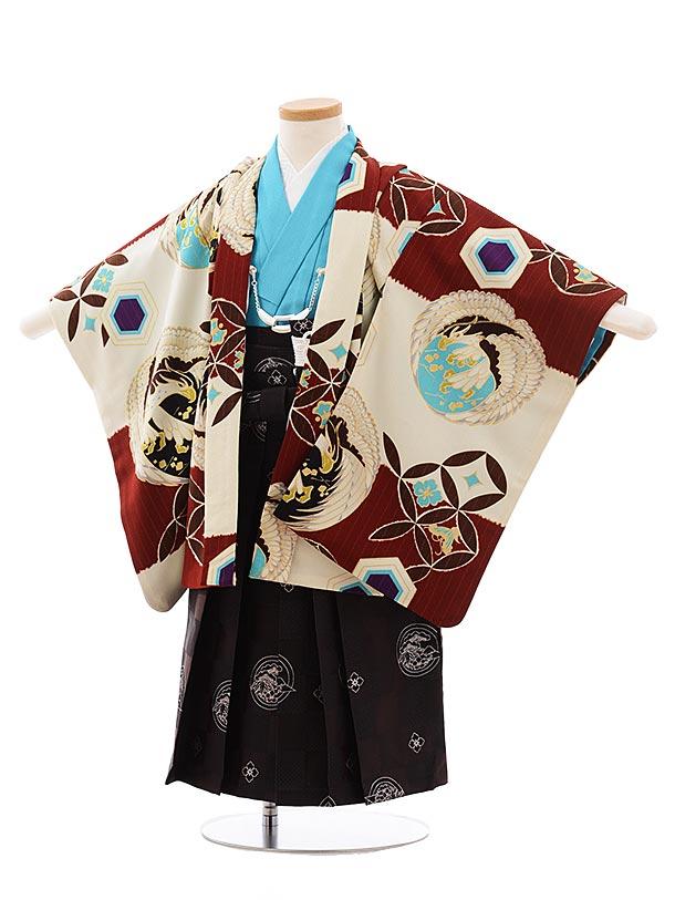 簡単七五三(3歳男袴)2270 JAPANSTYLE エンジ×クリーム 丸紋鷹