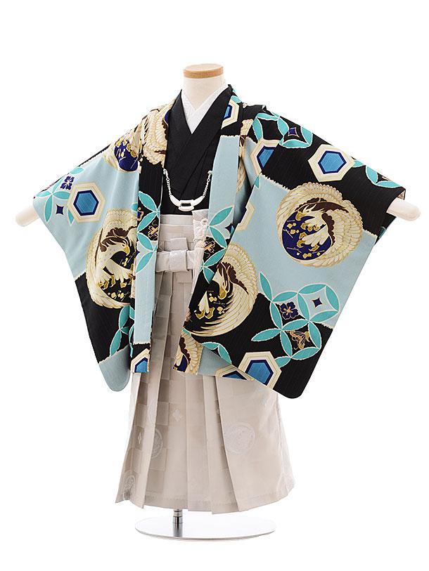 簡単七五三(3歳男児袴)2271 JAPANSTYLE 黒×水色 丸紋 鷹