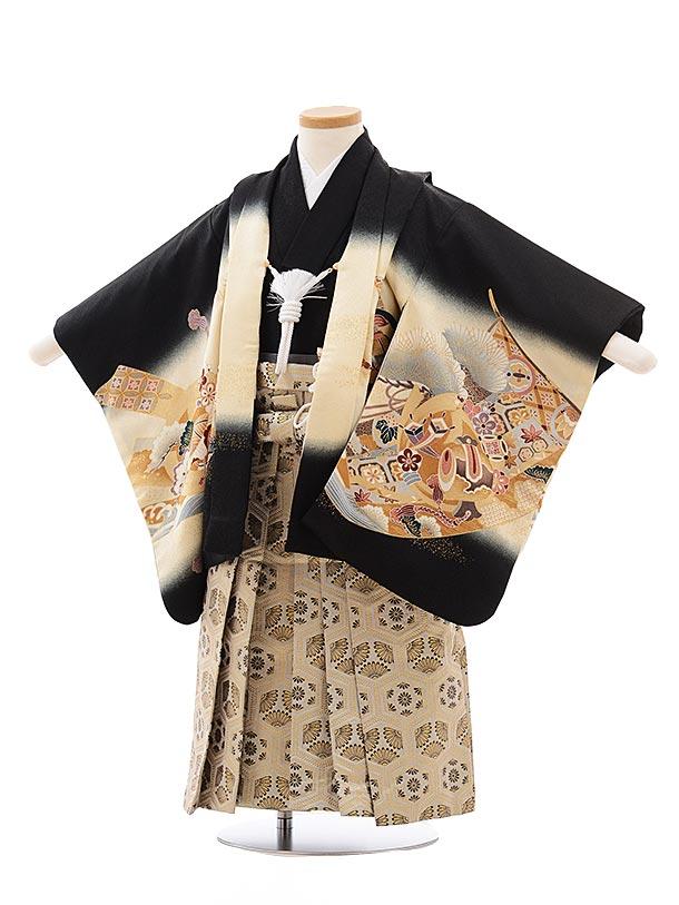 七五三レンタル(3歳男児袴)2275 黒地 のしに鷹×ベージュ袴