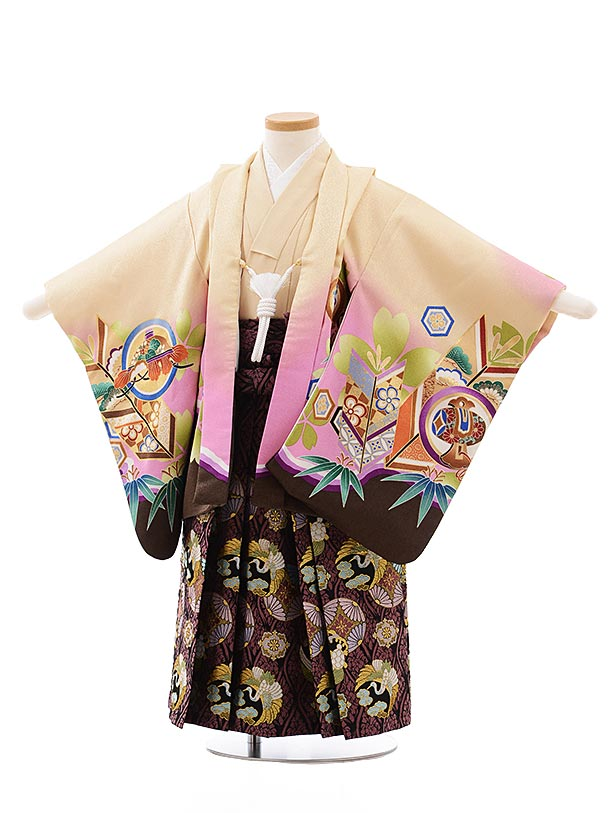 簡単七五三(3.4歳男児袴)2276ベージュ地丸紋かぶと×パープル
