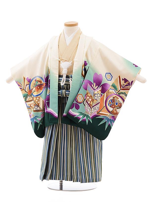 簡単七五三(3歳男児袴)2277クリーム色丸紋かぶと×グリーンストライプ
