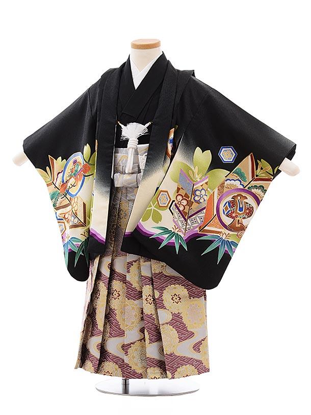 簡単七五三レンタル(3.4歳男児袴)2278黒地丸紋かぶと×パープル