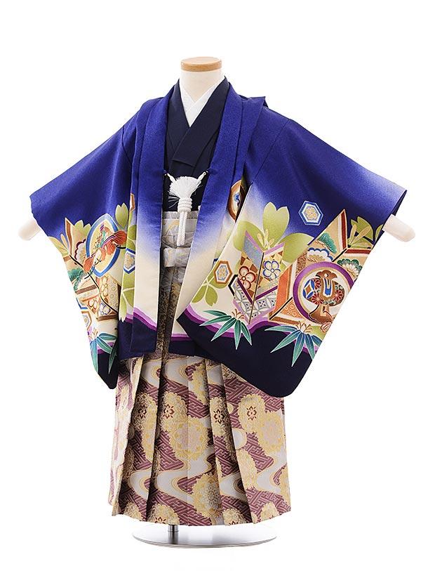 簡単七五三(3.4歳男児袴)2279 ブルー地 丸紋 かぶと×パープル袴