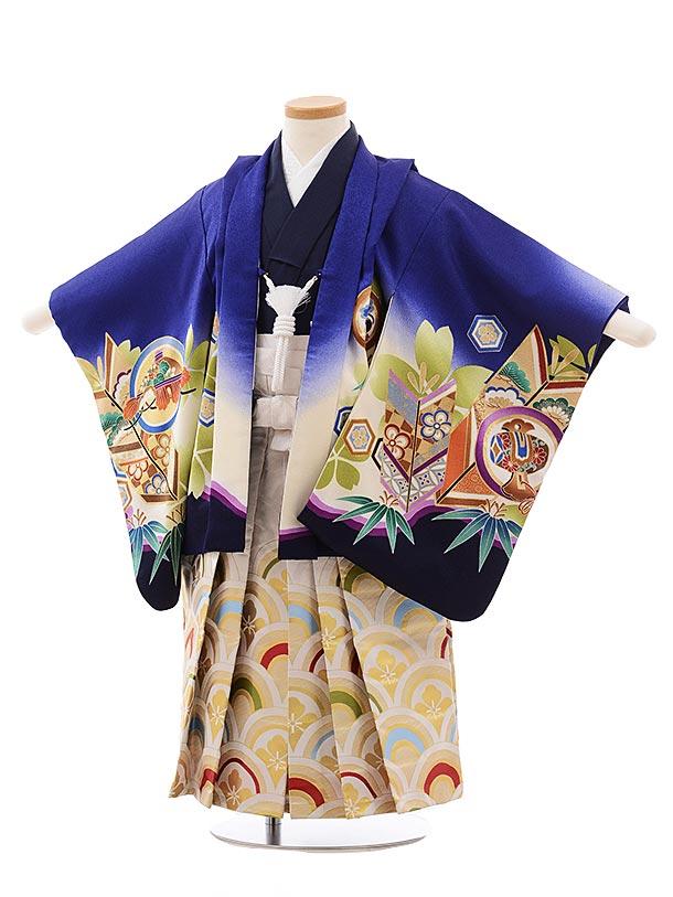 簡単七五三レンタル(3.4歳男児袴)2280 ブルー地 丸紋 かぶと×白波袴