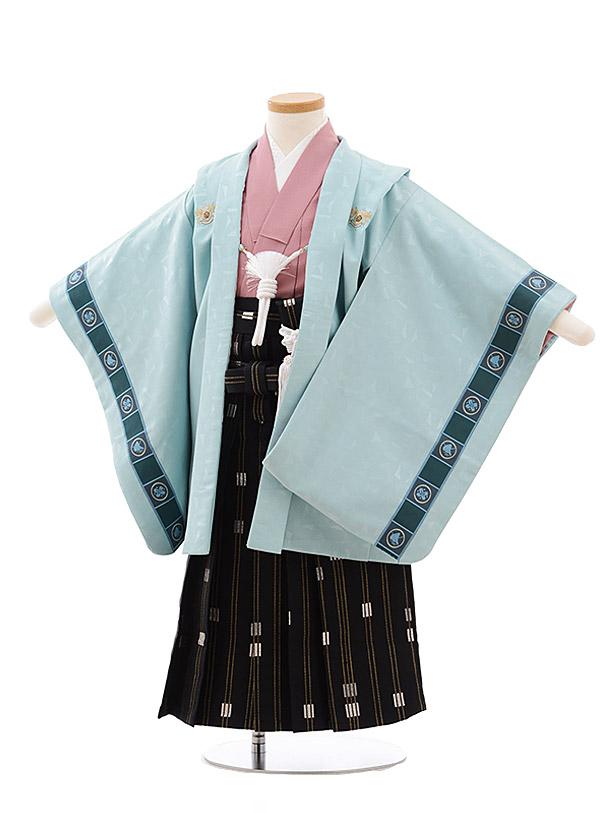 簡単七五三レンタル(3.4歳男児袴)2281ミントグリーンししゅう紋×黒