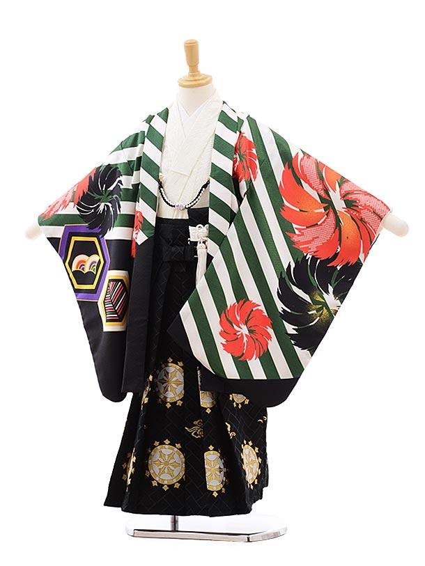 七五三(3.4歳男袴)2287 花わらべ グリーン 斜めストライプ