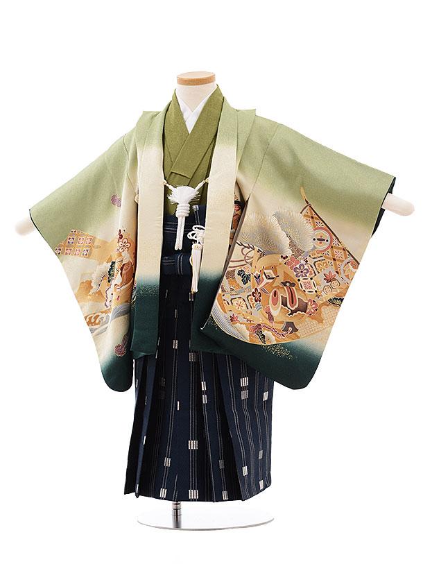七五三(3.4歳男袴)2295 うすグリーンぼかし 鷹×紺袴